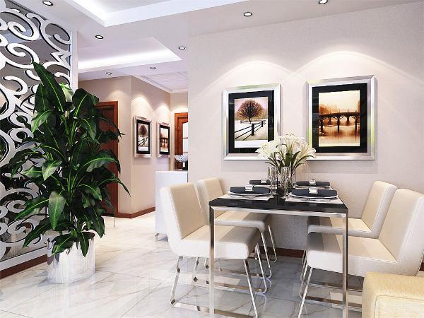 餐厅的背景运用了两幅极具现代风格的装饰画来增加餐厅的品味提升。沙发背景墙运用深咖色石膏板与黑镜拼接而,拉长空间。
