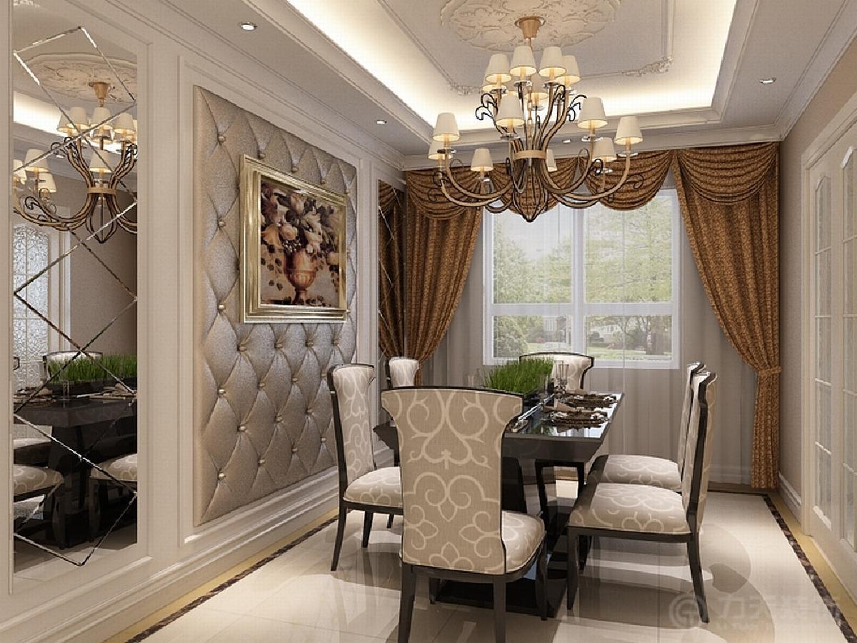 餐厅与客厅一样,墙面软包,挂画,加石膏线,带曼的窗帘.