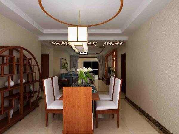 餐厅与客厅是贯通的,颜色也以暖色为主,延伸了客厅的主色调,使空间更连贯。简洁的弧形木线,跟客厅的设计相互呼应。
