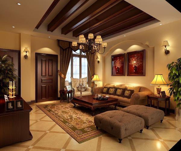 因为客厅是室内的聚焦点,要让客厅设计突出中文化是重要的一笔,用实木包梁加壁炉作为点缀。