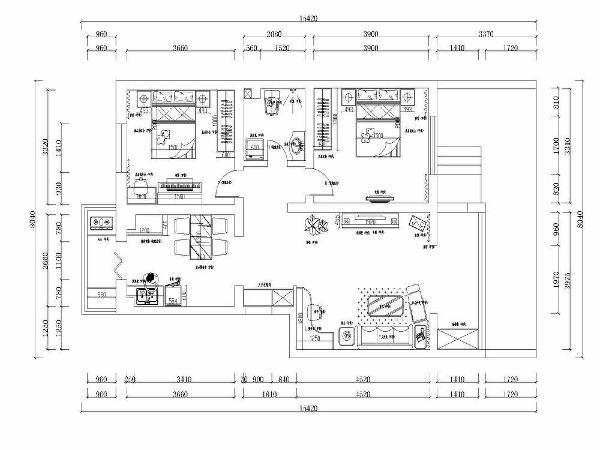 本案为桂荷园两室两厅一厨一卫94㎡的户型的户型。这次的设计风格定义为现代简约风格。