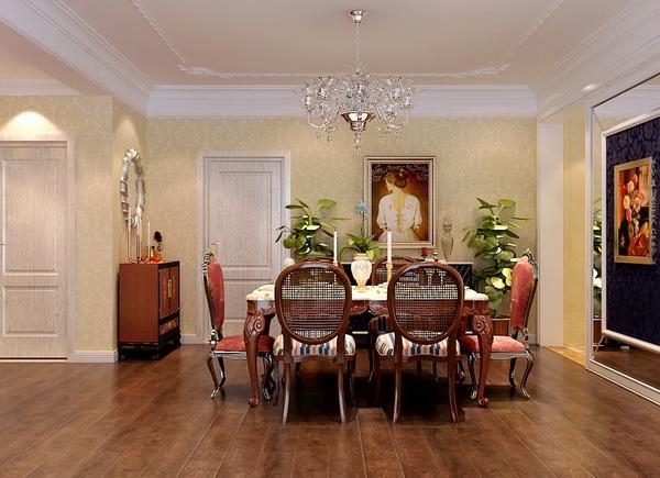 餐厅背景墙和沙发背景墙是整个房间的设计亮点,因为这两面墙是一进入户门正对的两面墙,在材质的运用上选择镜面,是想把空间延伸,在简单中带着造型,紧扣简欧风格的主题。