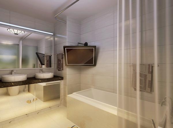在做方案的时候,把主卫生间的墙面改成玻璃墙面,这样卫生间就变成明卫了,采光的效果好了,更富有现代气息。