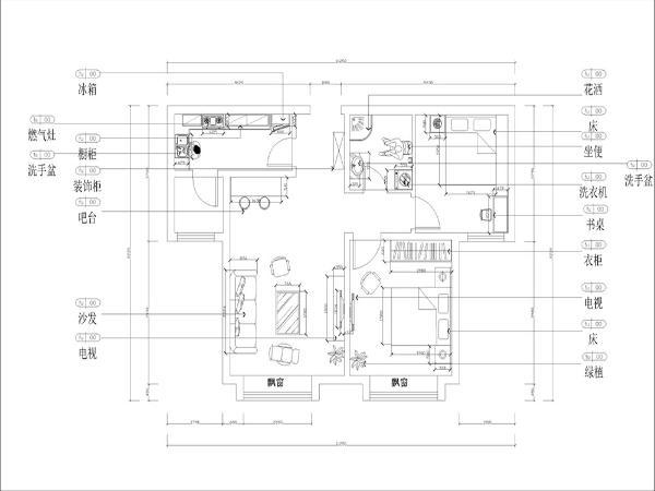 从平面图布局来看,入户门的左边是厨房,厨房还带着一个小的杂物间,放杂物用;入户门的右边是卫生间;卫生间的右边是次卧;入户门的正面是一个稍大的空间,用来当做客厅;
