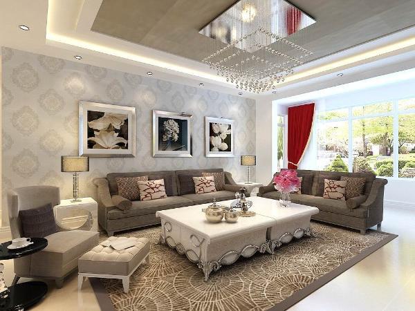 深色的布艺沙发加上白色的木质家具的搭配,在设计上追求空间变化的连续性和形体变化的层次感,实现了一种简约而不简单的设计风格。