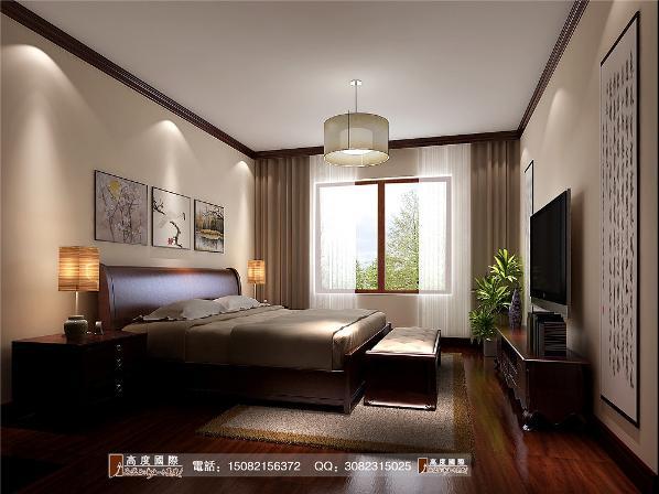 和泓半山卧室细节效果图--成都高度国际装饰设计