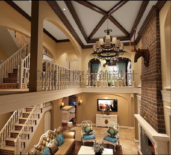 【高清】和泓半山350美式别墅风-成都高度国际别墅装饰-客厅细节效果