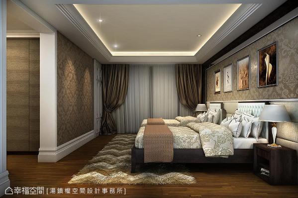 透过深色调壁纸展现古典质韵,为长者提供放松舒适的舒眠环境。 (此为3D合成示意图)