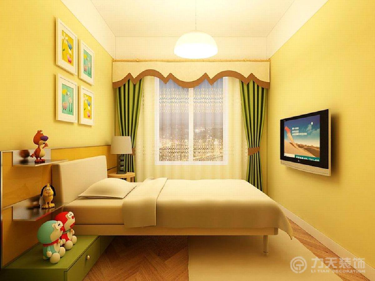 儿童房中整体选用浪漫,可爱的色彩来装饰,床头用木板做造型,加上黄色