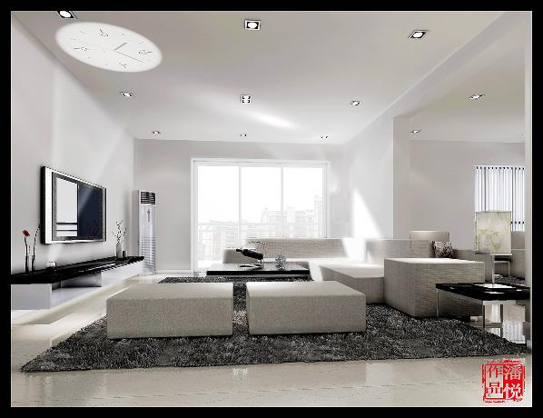 白天的客厅效果图。