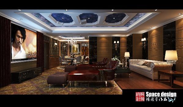 负一层经过改造后做出了一个大的影视区,咖啡色的地面,黑色的墙体软包,红色的影凳,真是一个不错的,很有冲击效果的家庭放松娱乐空间。