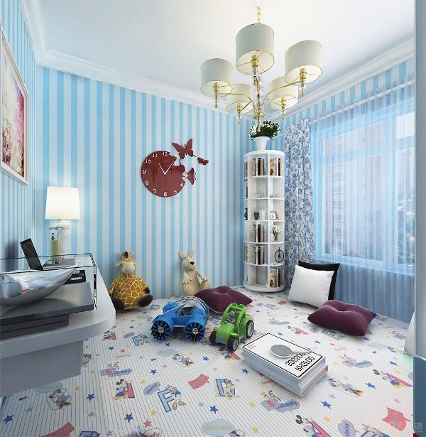 儿童房采用榻榻米,简易的儿童衣柜,书桌及玩具的摆放,使得整个空间氛围更具活力,简单的诠释了现代简约风格的特点;