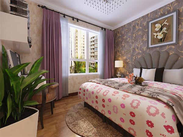 最后是主卧室主卧室通铺花纹壁纸,整洁的床上配有一副挂画,将简约风进行到底。地面铺贴木地板,脚感好又实用。