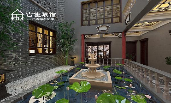 本案以徽派设计为主导更好的配合外墙中式风格,体现了整栋建筑的表里如一;天井4根中国红色的柱子从风水来说寓意开门红;