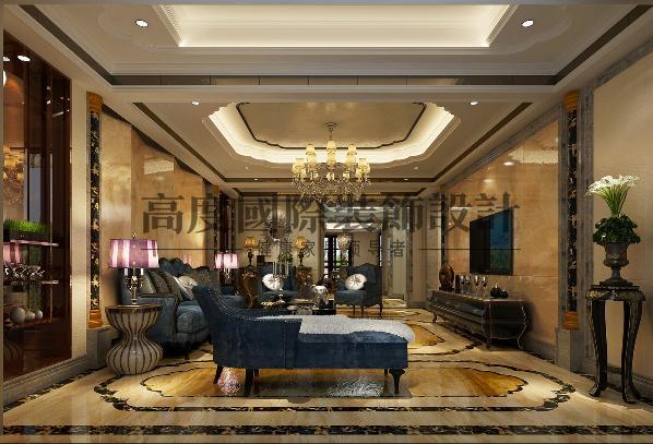 客厅局部做斜拼而让整个客餐厅整体具有层次感,顶面银箔更显低调的奢华。