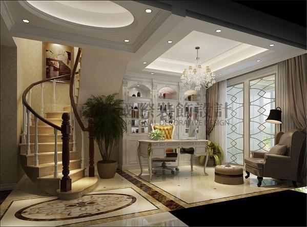 顶面圆形吊顶与地面拼花相呼应,流动的扶梯设计,鎏金推拉门,简洁的设计给人舒适