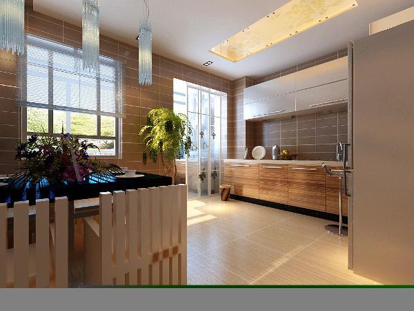 餐厅:运用中式的实木格栅做吊顶,即不呆板又和整体风格搭配。