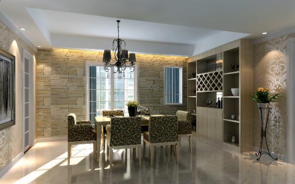 餐厅:通过吊顶来划分空间,电视墙用壁纸点缀,凸显出此空间的的重点。