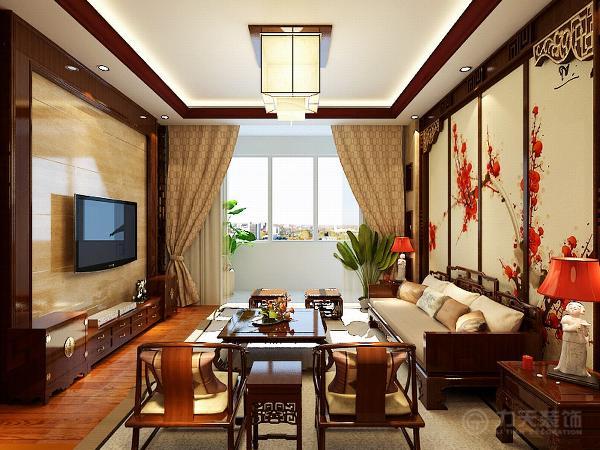 客厅多用木质结构,木制的地板,两把太师椅,和茶几,更凸显浓郁的中国韵味,沙发背景墙用实木做出结实的框架,以固定支架,中间用棂子雕花,做成古朴的图案。放一幅中国画做衬托