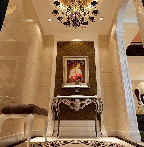 玄关采用了简单的几何形体做造型、壁纸和充满想象的壁画做点缀加以大理石的铺垫、吊顶和地面拼花相互呼应彰显出豪华、富丽的特点,充满了强烈的动感效果。