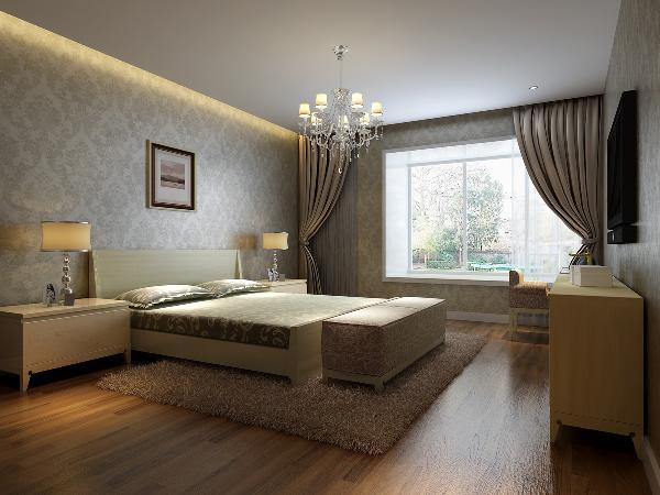 卧室: 墙面用壁纸装饰,地面浅木色地板,配上简约欧式风格衣柜和床,整体软装搭配衔接无缝。
