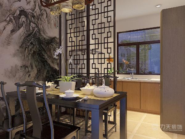 餐厅区加开放式厨房,给予中式风格和现在流行的因素的结合