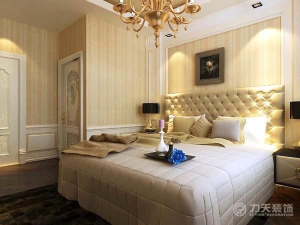 卧室主要以暖色调为主,给居住者一种温馨的舒适感,主要采用米黄色的竖纹壁纸和白色的护墙板相结合,在视觉上既温馨又干净明亮。在飘窗处铺装大理石可以作为休息区。
