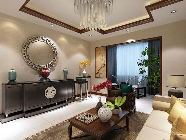 客厅中从壁纸的选择和布局都充满了新中式的风格特点,客厅中并没有选择放电视放置了一面中式的镜子,沙发背景墙,挂画再到挂镜突出大气。