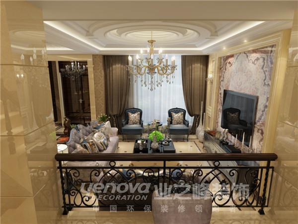 半山国际300平欧式风格一层客厅服俯视图设计装修效果图——太原业之峰装饰