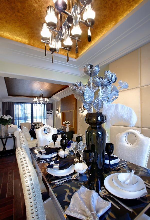 金沙高尔夫官邸-187平方先施工后付款-简欧风格餐厅装修效果图