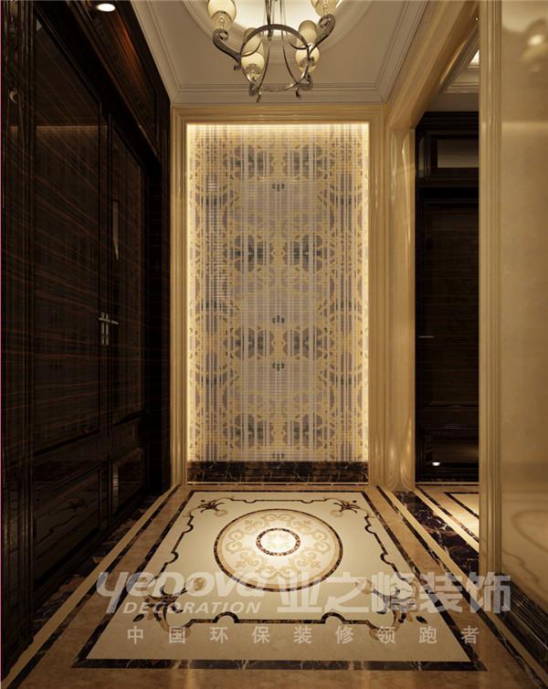 半山国际300平欧式风格三层楼梯玄关设计装修效果图——太原业之峰装饰