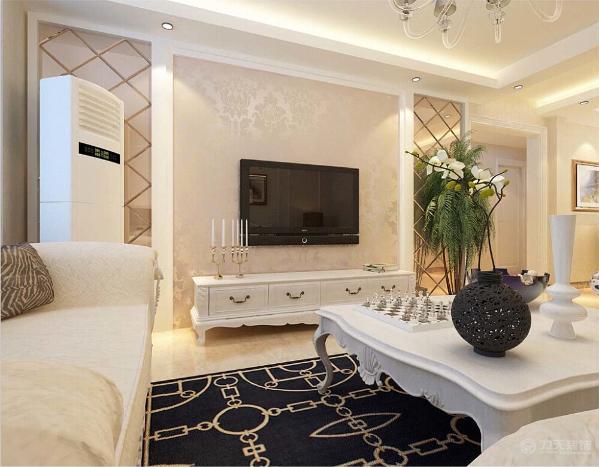 客厅采用回评定加石膏线装饰,起到软化线条的作用,突出层次。墙面采用暖色乳胶漆,营造温馨柔和的感觉。客厅布皮质沙发 ,柔软的抱枕,地面采用浅色地砖,深色地毯是整体空间不轻浮。
