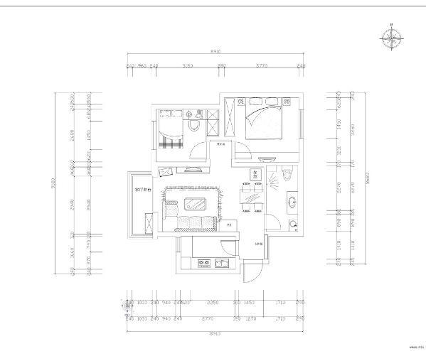 此户型为隆达新苑10-1705两室两厅一厨一卫81平米。入户门进来第一个空间是玄关逆时针方向第二个空间是卫生间然后是餐厅区域接下来是主卧室和次卧室最后是客厅和厨房,户型布局合理整体采光良好。
