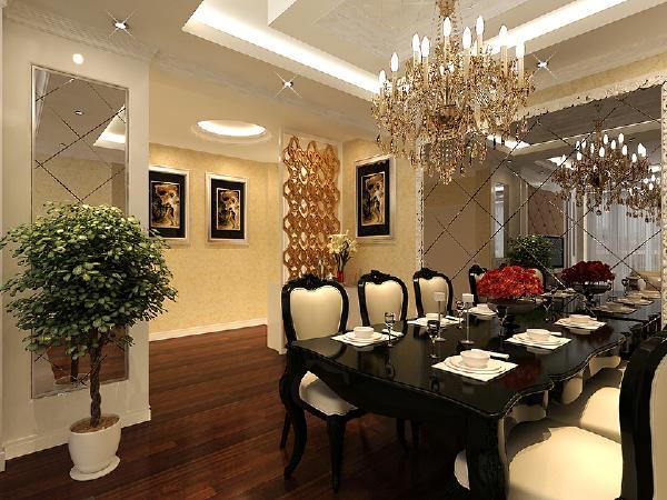餐厅是欧式风格的典范,长形餐桌可以容纳更多人,菱镜造型扩大和提亮空间,增强装饰感。