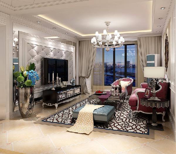 电视墙运用了软包和镜子的材质作为装饰以增加温馨舒适以及华贵的效果。顶面局部做了吊顶增加层次感。