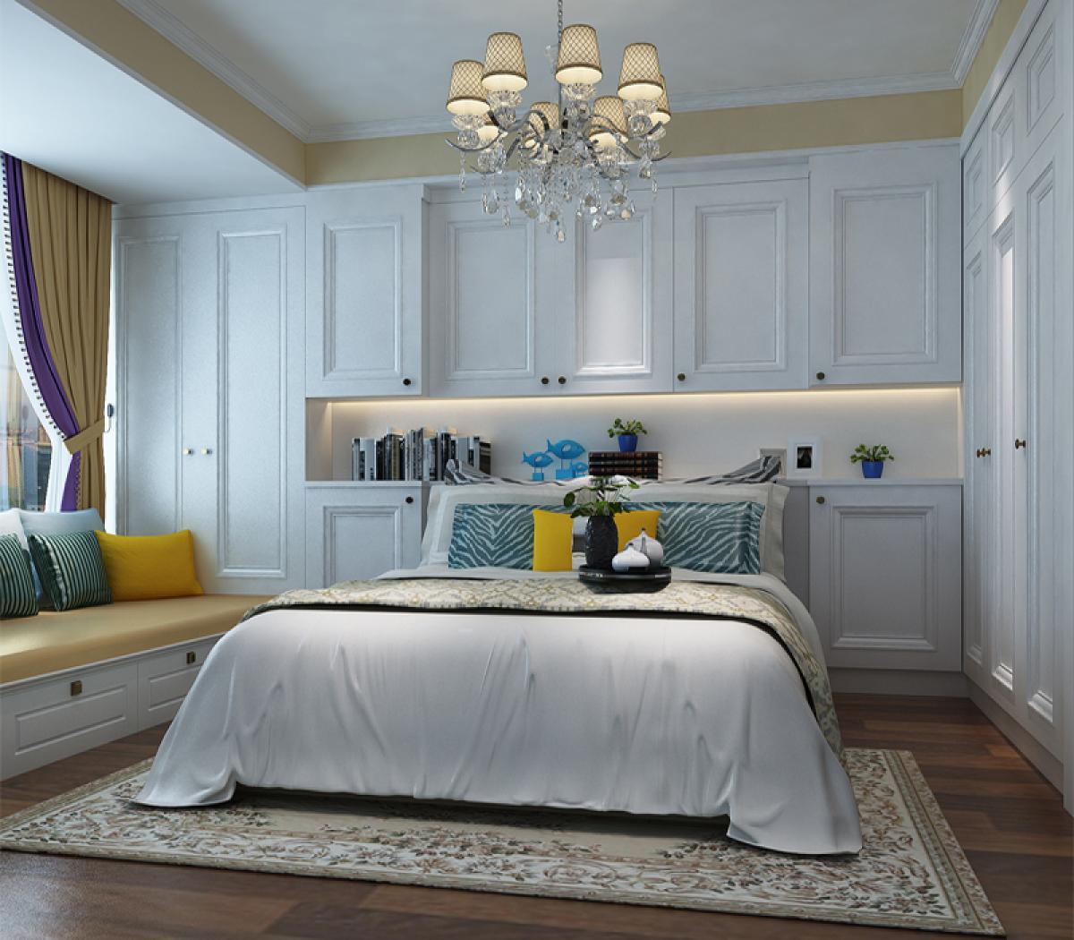 业主物品比较多,所以在主卧室床头做壁柜,利用空间,增加储藏功能.