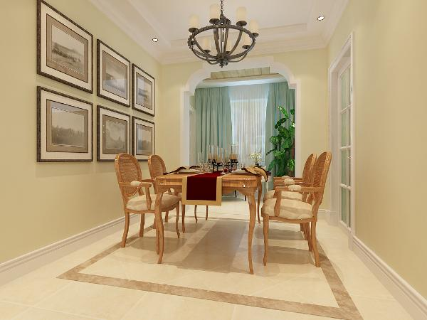 墙面用简洁的装饰画,顶面运用的是简单的角线,整体看上去很简单,舒服。