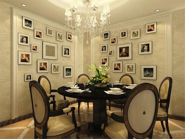 餐厅吊顶为原型内部发光灯池的吊顶,画面显得非常的浪漫!与家具圆桌相配!寓意团团圆圆!