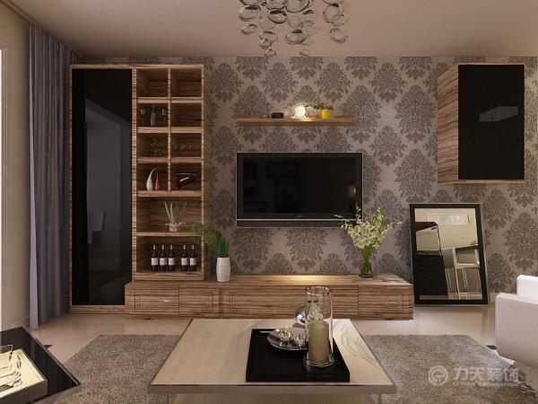 电视背景墙,采用烤漆境和壁纸和木纹的形式,给人温馨,时尚,大气的现代感觉。
