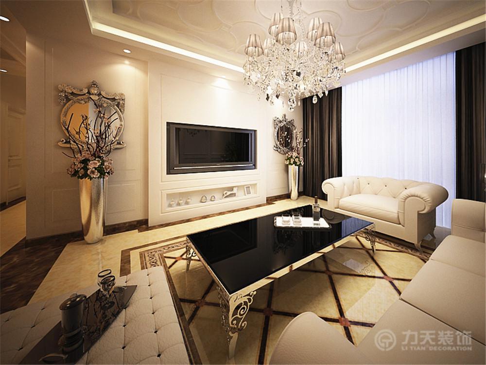 沙发背景墙是有简单造型的素雅浪漫的白色烤漆饰面板装饰.图片