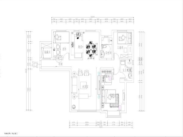 本方案为路劲太阳城三室两厅一厨一卫138㎡户型的设计,首先从入户门进入,左边是一个小的储藏间,接着往里走是玄关区域,在玄关处摆放了一个通顶的鞋柜,玄关后面是采用榻榻米造型的次卧室。