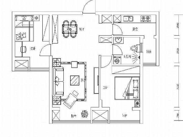 本户型为永泰枕流GOLF公寓二期高层10号楼标准层N户型2室2厅1卫1厨 94.48㎡。户型结构基本合理有要拆改的地方,原户型有放玄关柜的地方,餐厅和客厅空间不是太明显。