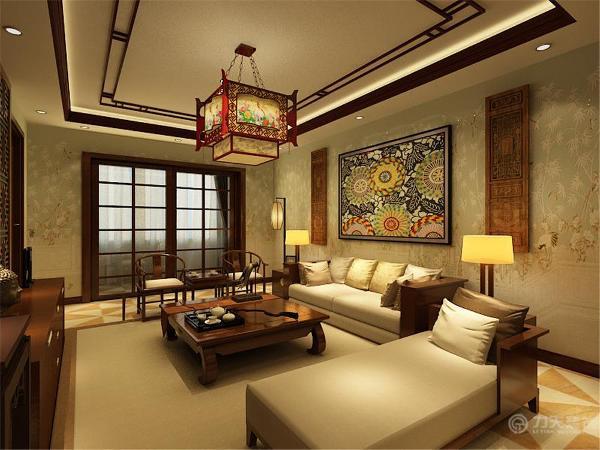 沙发背景墙挂了装饰画,电视背景墙也是由中式木制品做成,客厅与阳台之间做成了推拉门