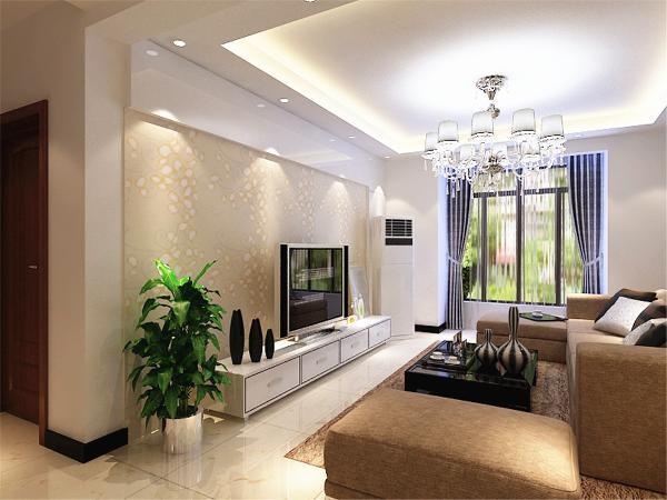 室内布置是以咖、白色家具为主,对比色比较强。客厅的电视背景墙是以石膏板加壁纸来组成的,将壁纸与石膏板的融合,凹凸有致,立体感较强,电视柜是以白色烤漆组成,显的整个空间比较温馨。