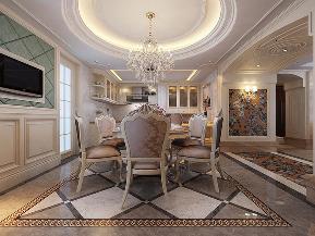 华业东方 四居 新古典 装修设计 白富美 餐厅图片来自业之峰装饰旗舰店在古典风尚的分享