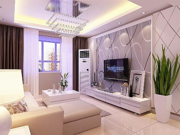 客厅采用回字形吊顶,中间是水晶灯。影视墙石膏板拉缝加壁纸相结合。沙发背景墙是几幅挂画。白色的沙发加几个靠背,简洁大气。