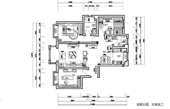 本案例做了吊顶显得空间更有层次感,顶子上多加筒灯,加强空间照明。家中的配饰是必不可少的,本案例中,我添加了青花瓷器,中式挂画,红色地毯,黄色的靠垫,卧室的顶子显得房间高挑大气。