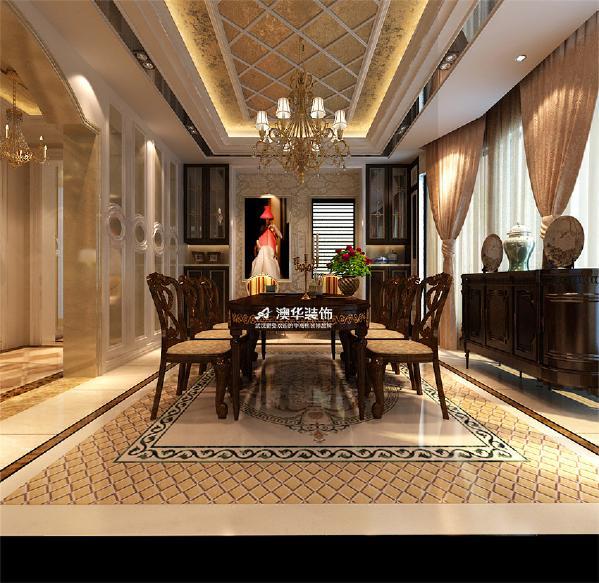 欧式古典别墅壁炉石膏线餐厅