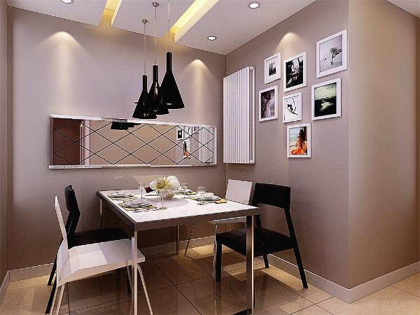餐厅较小,吊顶采用石膏板吊顶加灯带装饰,中间是餐厅吊灯,墙面是菱形镜,拉伸空间,4人餐桌椅简约时尚。