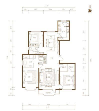 臻园175平米三室两厅两卫户型图